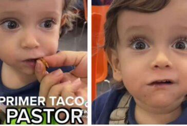 Bebé se hace viral por su reacción al probar un taco al pastor