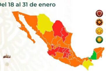 Hay 10 estados en semáforo rojo por COVID-19, Oaxaca en naranja