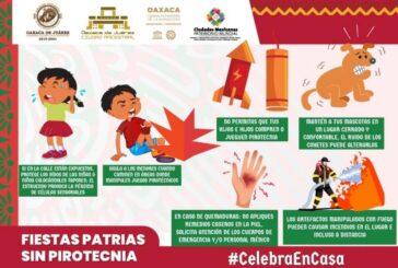 Recomienda Ayuntamiento de Oaxaca evitar el uso de pirotecnia en fiestas patrias