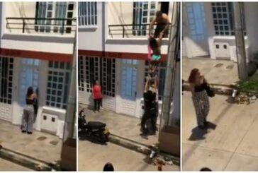 Video: una amante huye por el balcón y se esconde en una caja