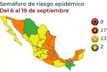 17 estados en naranja y 13 en amarillo a partir del próximo lunes